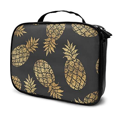 Multi-Purpose Cosmetic Train Case Lazy Zipper Clutch Bag Large Capacity Golden Pineapples