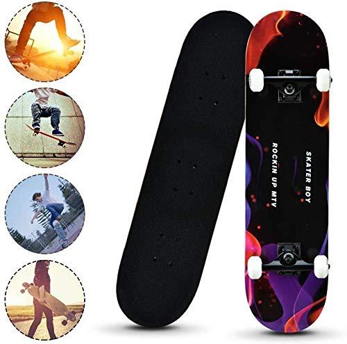 SCOOTER Longboard Komplett Skateboards, Vier-Rad-Kick-Plattform-Skateboard mit T-Form-Gadget, Standard Skateboards for Kinder Junge Jugendliche Anfänger (Color : D)