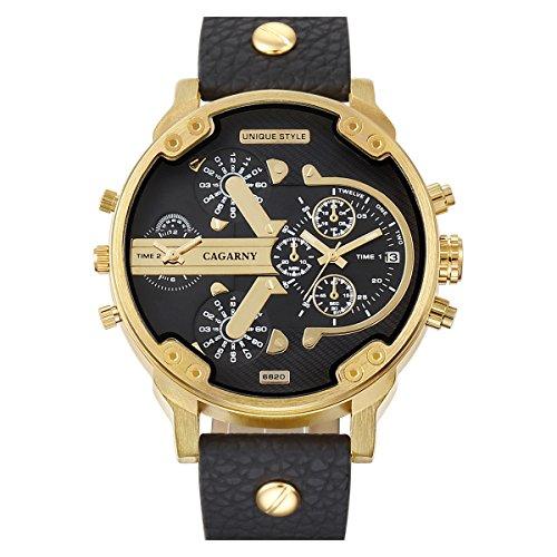 Fenkoo Herren Beobachten Quartz Militäruhr Kalender / Duale Zeitzonen Leder Band Armbanduhr