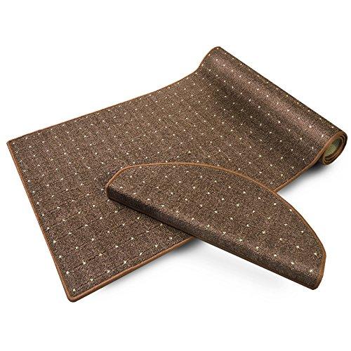 casa pura® Stufenmatten | mit Punkt Muster | GUT-Siegel, Made in Germany | kombinierbar mit Läufer | 65x23,5 cm | braun | halbrund, 15er Set