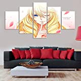 HHXXTTXS One Piece Cavendish Anime 5 Piezas Impresiones en Lienzo —HD Impresión Artística Imagen Gráfica Lienzo XXL Decoracion Cuadros para Dormitorios Modernos 150 x 80 CM(Marco)