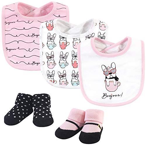 Hudson Baby Unisex Baby Cotton Bib and Sock Set, Pink Bonjour, One Size