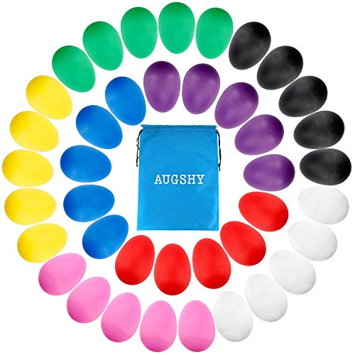 40 Pieces Easter Eggs Plastic Maracas Egg Shakers Percussion Musical Egg with 8 Different Colors for Kids Toddler Gifts Music Learning DIY Painting