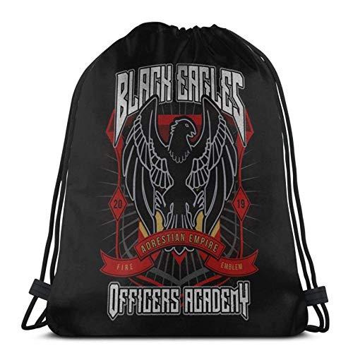 LREFON Mochila Saco Sudadera con Capucha Black Crest Logo-Mochila Saco-Negro