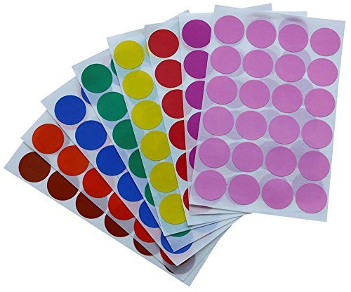 Royal Green Dot Sticker 1 inch 25 mm Color Labels in Green, Yellow, Pink, Purple, Orange, Brown, Blue and Red dots Sticker - 768 Pack