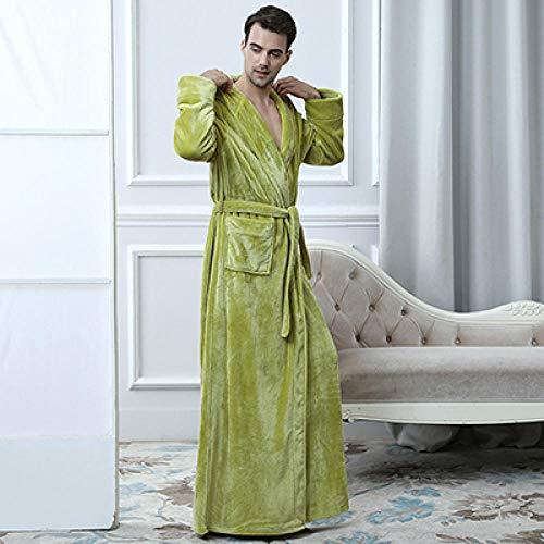 ZIXIYAWEI Mens Dressing Jurk Mens Dressing Jurk Winter Extra Lange Hooded Dikke Flanel Warm Bad Robe Mannelijke Dressing Jurk Badjas Mens Kimono Robes