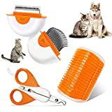 Aone Pet Grooming Kit, 2-in-1 Dog and Cat Comb, Pet Hair Remover, Self-Cleaning Slicker Brush, Dog Nail Clippers and Cat Nail Clipper for All Breeds, Lengths & Hair Types