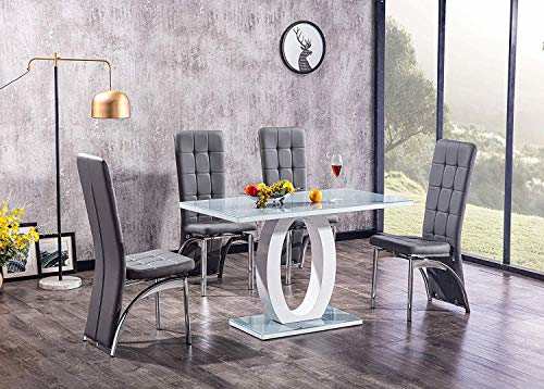 Grey Top & White Base Glass Dining Table with 2/4 Faux Leather Grey Chairs, Tempered Glass Top Pedestal Stand Dining Table & Chairs Set, Small 120 cm Table with 2 or 4 Chairs (With 4 Grace Chairs)