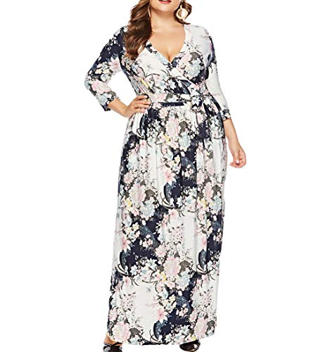 Eternatastic Womens Floral Maxi Dress V-Neck Wrap Plus Size Long Dress 5XL White
