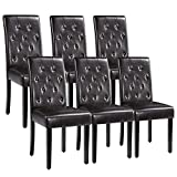 Yaheetech Dining Chairs with Waterproof leather Surface and Rubber Wood Legs...