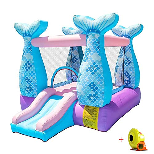 Water Children Bouncy Castle Inflatable Activity Play Center Trampoline House Jumper Slide Combo? Garden with Electric Air Blower Oxford Cloth Material 280X215X195CM Airbeds (Color : Blue)