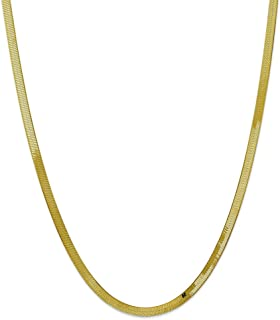 Solid 10k Yellow Gold 4.0mm Silky Herringbone Chain Necklace - with Secure Lobster Lock Clasp