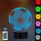 Lámpara de ilusión óptica 3D Lámpara de noche LED, lámpara de mesa de escritorio de 7 colores Luces de escultura de arte LED para niños con cable USB y control remoto - Regalos perfectos (fútbol)