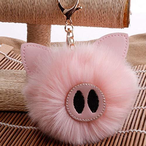 AMITD Schlüsselbund Schlüsselring Mode Flauschige Faux Kaninchen Fell Schwein Ball Schlüsselbund Für Frauen Anhänger Charm Schlüsselanhänger Ringe Schlüsselbund Tasche Zubehör