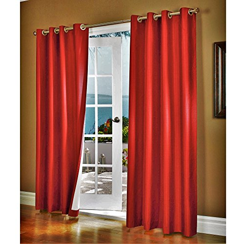 """Gorgeous Home (#32) 1 Panel Solid Plain Thermal Foam Lined Blackout Heavy Thick Window Curtain Drapes Silver Grommets (RED, 63"""" Length)"""