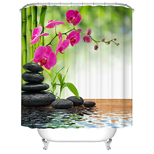 Qilerongrong Badezimmer Duschvorhang, Top Qualität Anti-Schimmel Duschvorhänge Digitaldruck inkl. 12 Duschvorhangringe, 180x180cm (Rosa Phalaenopsis)