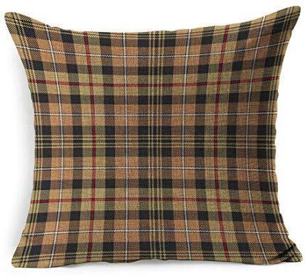Mackenzie - Fundas de cojín de algodón y Lino, diseño de Cuadros Escoceses, 45 x 45 cm, para salón o Navidad