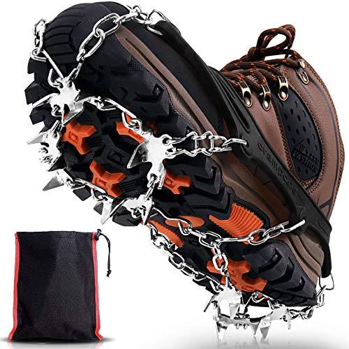 Winline Crampones, 19 Garras de Dientes Crampones Cubierta Antideslizante de Zapatos con Cadena de Acero Inoxidable para Excursiones Pesca Escalada Trotar Caminata sobre Nieve y Hielo (Negro, L)