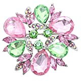Rosemarie Collections Women's Rhinestone Flower Round Wreath Statement Brooch...