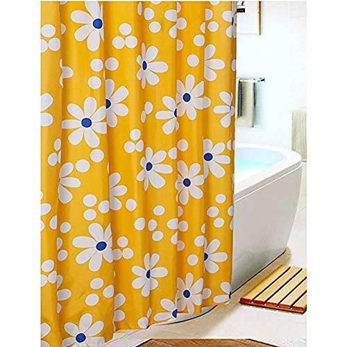 VDFFSSS Wasserdicht Bad Vorhang, gelbe Sonne Blumendruck Duschvorhang, Polyester Bad Vorhänge, Chun Yafang Chower Vorhang (mit Haken)