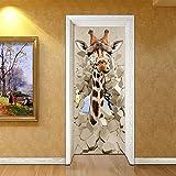 GHFDSJHSD Türtapete selbstklebend Wasserdicht PVC Abnehmbar TürPoster Fototapete Holzwand Türaufkleber Wandbild für Tür, Wohnzimmer, Giraffe Stereo Tür Aufkleber