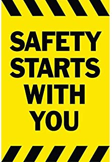 SAFETY STARTS WITH YOU Banner Sign 3ftX2ft Yellow w/ Black Strips
