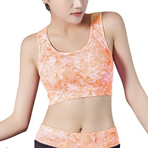 Sujetador deportivo con encaje y espalda cruzada para mujer, sujetador de yoga con soporte medio Naranja # C M