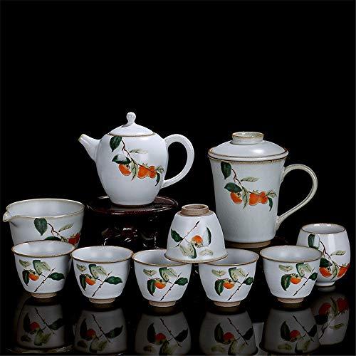 NgMik Servicio de té Porcelana Japón Sencilla Retro Cerámica Kung Fu Juego De Té Tetera El 10 Piezas Conjunto Hecho A Mano con La Caja De Regalo Conjunto de Copa de Tetera cerámica