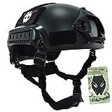 ATAIRSOFT WorldShopping4U Mich 2001 Stil Kampf Schutz Helm mit Seite Schiene & NVG Reittier (Schwarz) für Airsoft Taktisch Militär Paintball Jagd