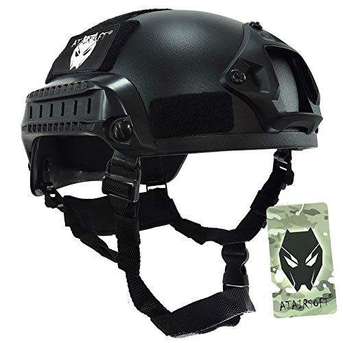 ATAIRSOFT PJ Type Tactical Airsoft Paintball MICH 2001 Helmet with Side Rail & NVG Mount Black