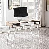ADFBL Mesa de ordenador con cajón, mesa de oficina en casa, escritorio de 110 cm, cajón negro nogal