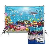 Cassisy 2,2x1,5m Vinilo Submarino Telon de Fondo Panorama de Especies Marinas Arrecife de Coral Sunbeam Seaweed Fondos para Fotografia Party Infantil Photo Studio Props Photo Booth