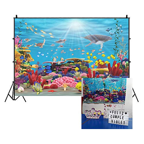 Cassisy 3x2m Vinilo Submarino Telon de Fondo Panorama de Especies Marinas Arrecife de Coral Sunbeam Seaweed Fondos para Fotografia Party Infantil Photo Studio Props Photo Booth