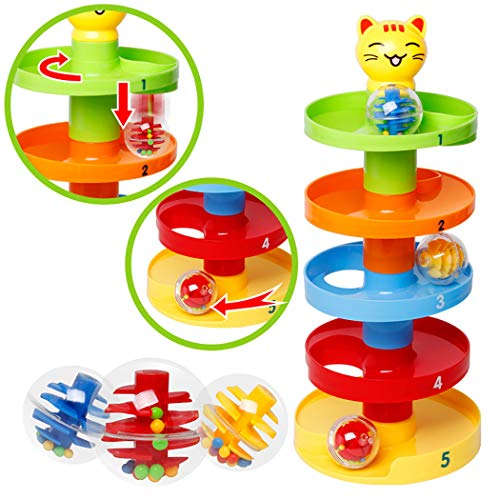Lowest Prices! Kid Educational Toy, JUSTDOLIFE Stacking Blocks Set Interactive Ball Rolling Building...
