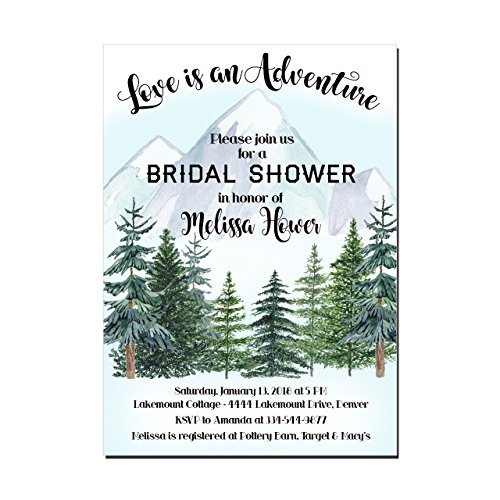 Mountain and Trees Love is an Adventure Bridal Shower Invitations, Set of 10 Invitations with white envelopes