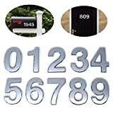 3 Inch Self Stick House Numbers 0-9, 10 Pcs Silver Door Numbers Stickers, 3D Address Numbers for Mailbox, Apartment, Office Room.(3 inch 0-9, Silver)