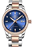 Carnival Women's Diamond Automatic Mechanical Rose Gold Stainless Steel Sapphire Waterproof Lady's Elegant Blue Watch (Blue dial)
