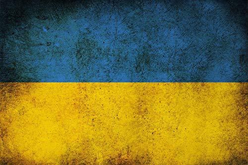 FS land vlag Oekraïne nationale vlag blikken bord gewelfd Metal Sign 20 x 30 cm