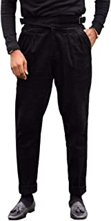 Mens Gurkha Pants Cotton Pleated Adjustable Waist Buckle Straight-Fit Trousers