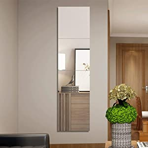 12 Inch Full Length Mirror with Acrylic - 4Pcs Frameless Wall-Mounted Mirror Hanging Door Mirror for Makeup Mirror Vanity Bedroom, Living Room (Square Edge)