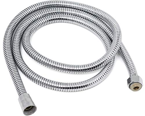 Showertopia Shower Hose 59 Inches Chrome Shower Head Hose or Faucet Extension Tubes with Brass Insert and Nut