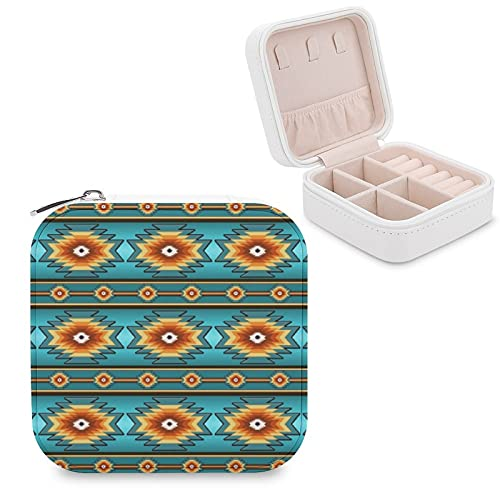 Caja de joyería para mujeres y niñas, diseño tribal del suroeste pequeño viaje PU cuero joyería caja de almacenamiento organizador expositor para collar, pendientes, anillos y pulseras