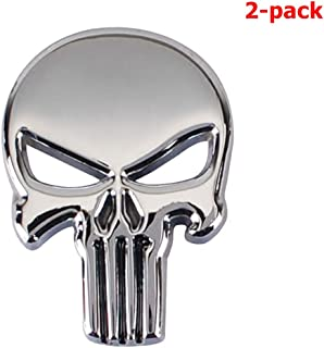 Quentacy 2-Pack Skull Punisher Emblem Badge 3D Metal Sticker Decals for Cars Trucks Motorcycle Vehicle Luggage Laptop Tablets (Silver)