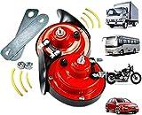 2PCS 300db Train Horn for Trucks,Loud Air Electric Snail Single Horn,Waterproof Motorcycle Snail Horn,12v Double Horn Raging Sound Raging Sound for Car Motorcycle