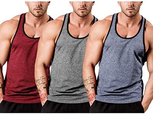 JINIDU Camiseta de tirantes para hombre, sin mangas, para entrenamiento, gimnasio, culturismo, musculación, sin mangas Rojo/gris/azul. M