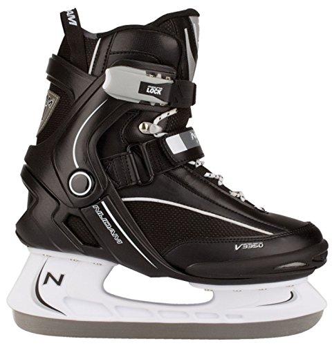 Nijdam Erwachsene Eishockeyschlittschuhe Icehockey Skate, Mehrfarbig (schwarz / weiß), 41
