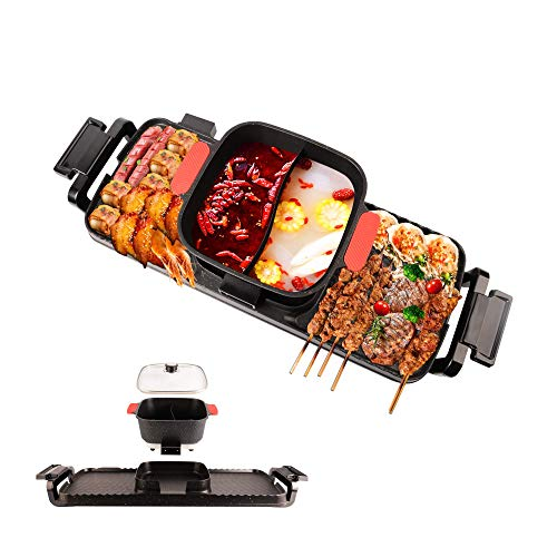 Electric Hot Pot with Grill,2700W Dual Temperature Control,Smokeless Shabu Shabu Hot Pot Electric,Korean BBQ Grill with Divided Hot Pot,Easy to Clean