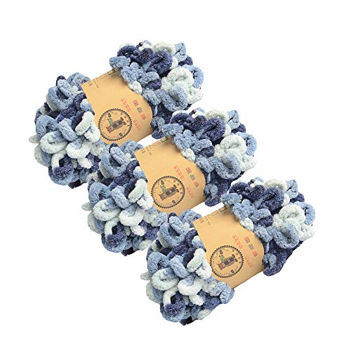 Chunky Blanket Yarn Chenille Loop Yarn for Hand Knitting Blankets, Set of 3,...