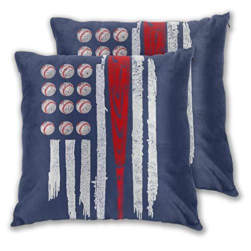 BROWCIN 2 Pack Kissenbezüge Bowlingkugel-Flagge Blau Quadratische Kissenhüllen für das Wohnzimmer-Sofa, Schlafzimmer 30cm x 30cm