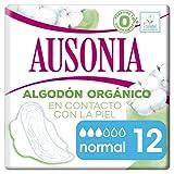 Ausonia Cotton Protection Normal (tamaño 1) Compresas Con Alas, 12, Capa Superior De Algodón 100% Orgánico